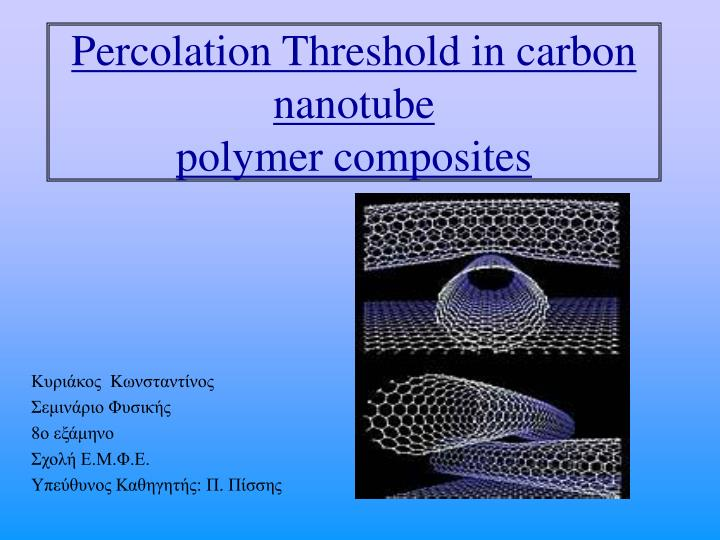percolation threshold in carbon nanotube polymer composites n.