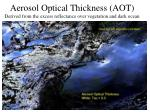 aerosol optical thickness aot derived from the excess reflectance over vegetation and dark ocean