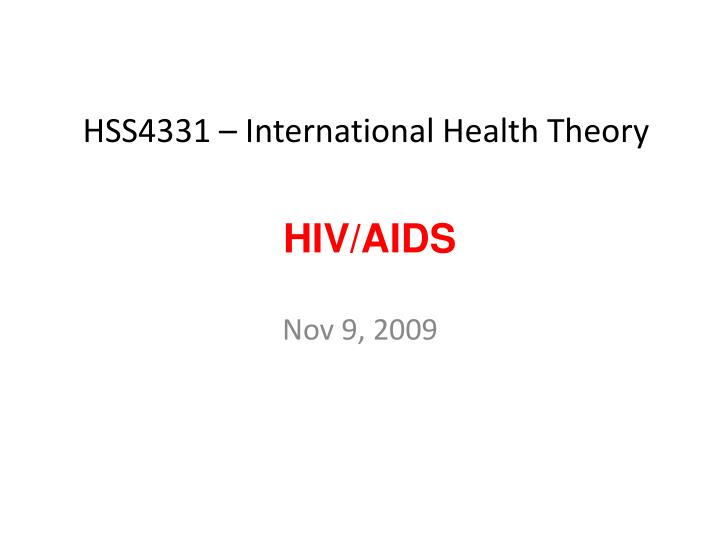 hss4331 international health theory n.