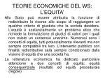 teorie economiche del ws l equita