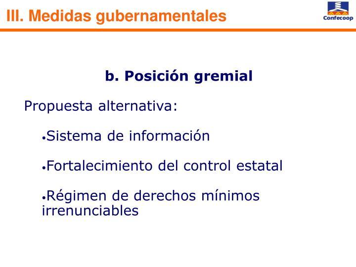 III. Medidas gubernamentales