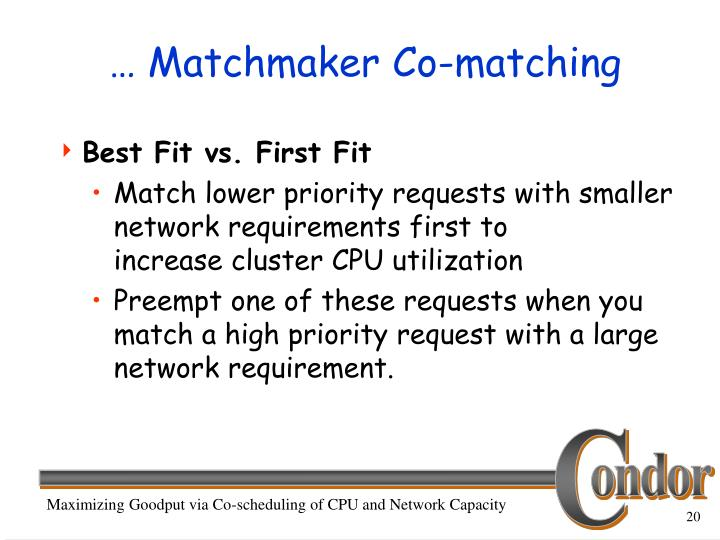 … Matchmaker Co-matching