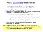 class operations specification