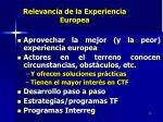 relevancia de la experiencia europea