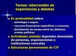 tareas intercambio de experiencias y debates