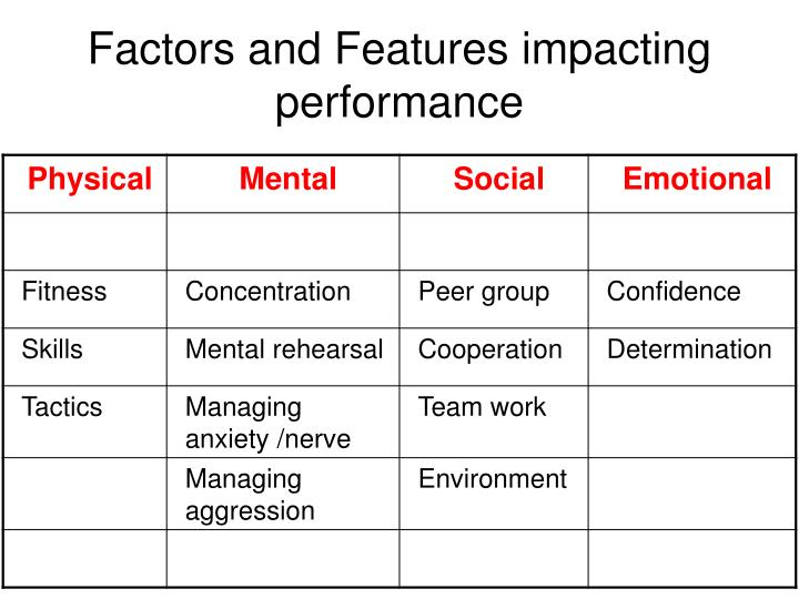 factors and features impacting performance n.
