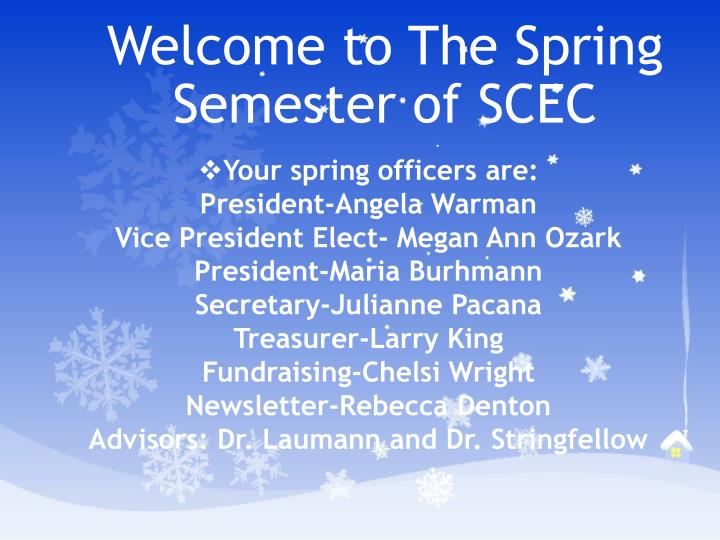 welcome to the spring semester of scec n.