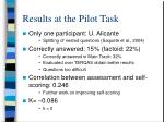 results at the pilot task