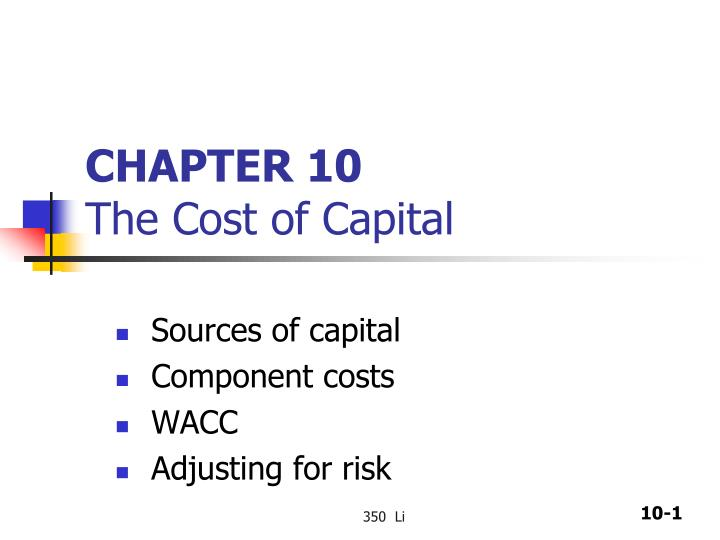 chapter 10 the cost of capital n.