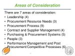 areas of consideration
