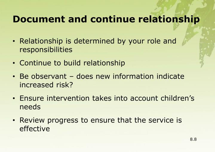 Document and continue relationship