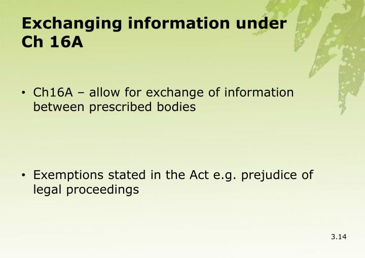 Exchanging information under