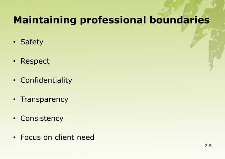 Maintaining professional boundaries
