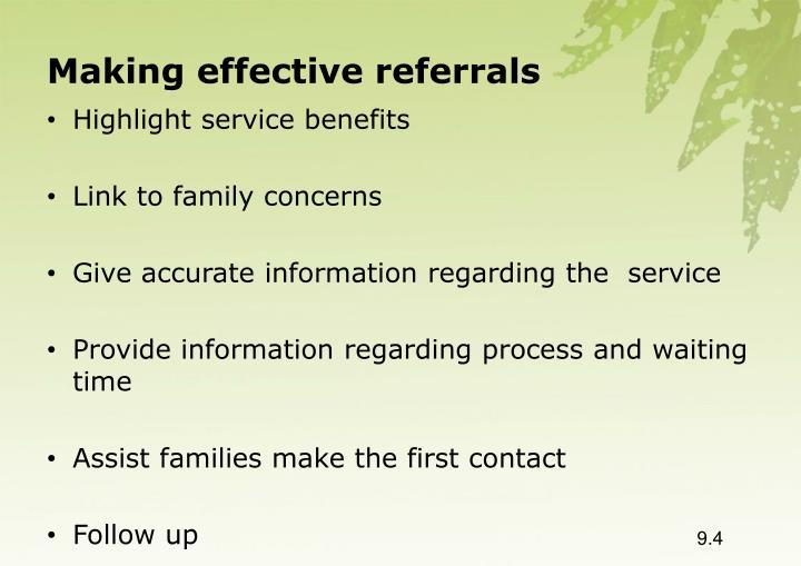Making effective referrals