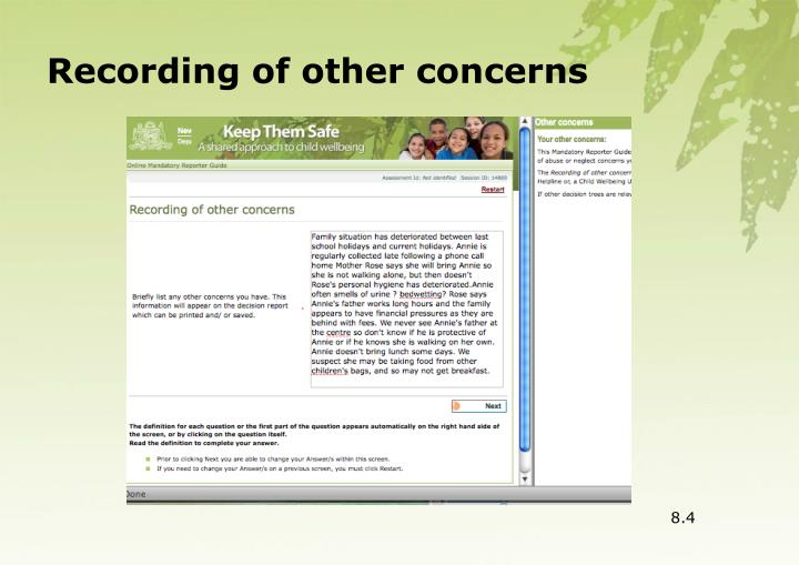 Recording of other concerns