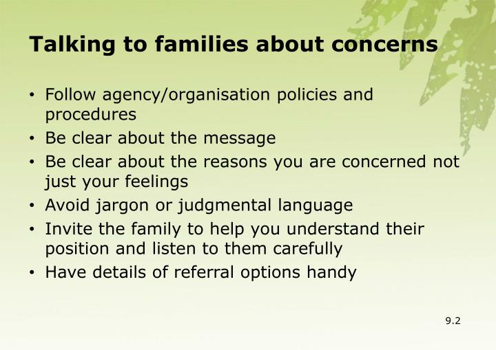 Talking to families about concerns