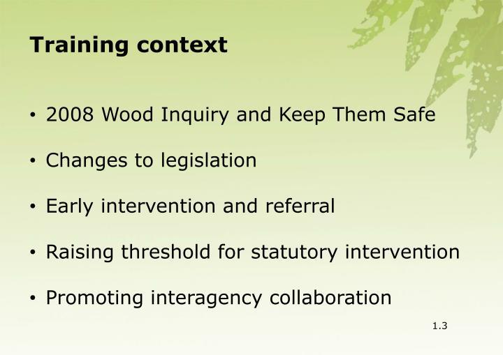 Training context