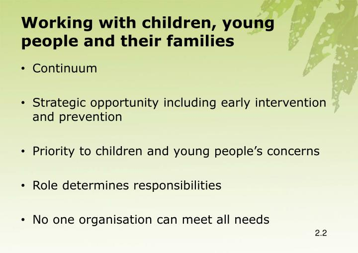 Working with children, young people and their families