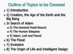 outline of topics to be covered