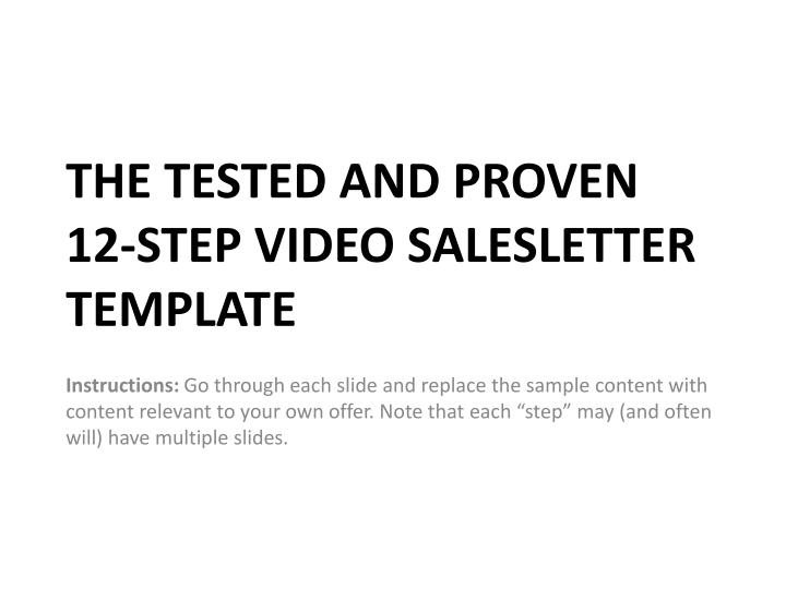 the tested and proven 12 step video salesletter template n.