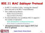 802 11 mac sublayer protocol