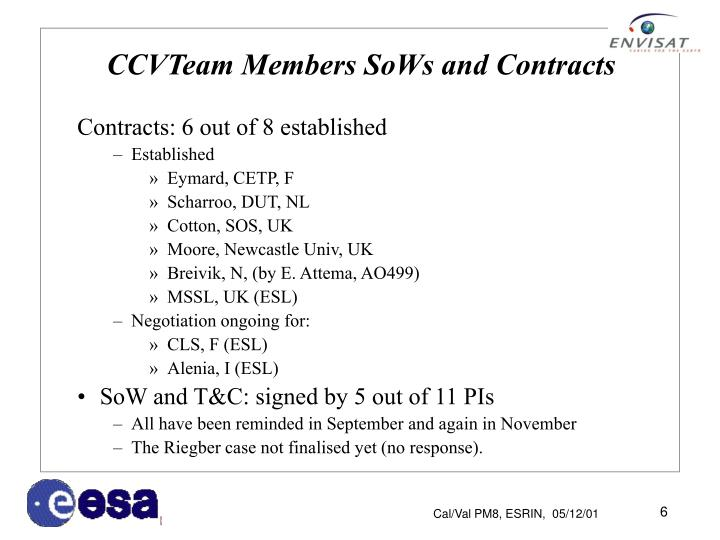 CCVTeam Members SoWs and Contracts