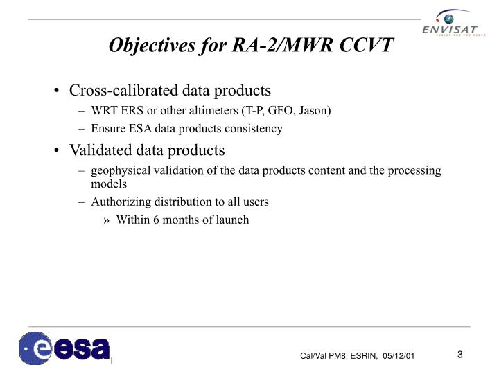 Objectives for ra 2 mwr ccvt