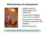 effectiveness of assessment