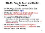 802 11 peer to peer and hidden terminals