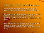 effects of l m e on performance