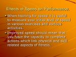 effects of speed on performance