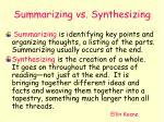 summarizing vs synthesizing