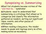 synopsizing vs summarizing