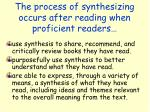 the process of synthesizing occurs after reading when proficient readers