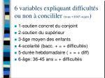 6 variables expliquant difficult s ou non concililer tous 1045 sujets