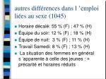 autres diff rences dans l emploi li es au sexe 1045