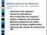 impacts pr vus ou observ s rarement mesur s rarement offerts seulement 20 observ s
