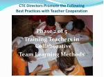 cte directors promote the following best practices with teacher cooperation1