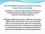 you are building authentic learning in learning teams tools of learning