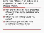 let s read stress an article in a magazine or periodical called health watch