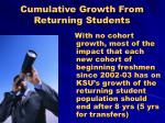 cumulative growth from returning students