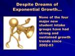 despite dreams of exponential growth