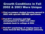 growth conditions in fall 2002 2003 were unique