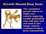 growth should slow soon