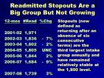 readmitted stopouts are a big group but not growing