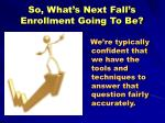 so what s next fall s enrollment going to be