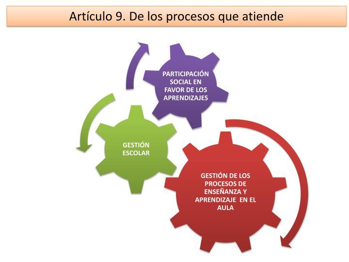 Artículo 9. De los procesos que atiende