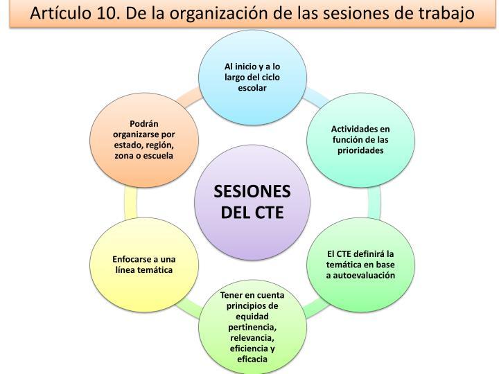 Artículo 10. De la organización de las sesiones de trabajo