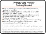 primary care provider training needed