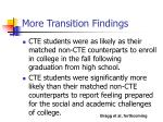 more transition findings